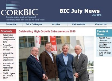 CorkBIC July Newsletter - Celebrating High Growth Entrepreneurs; Accelerator Update; Entrepreneur Experience Video; Clients in the News etc.