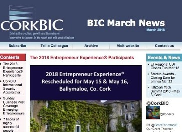 CorkBIC March Newsletter; 2018 Entrepreneur Experience; Security Accelerator Update;